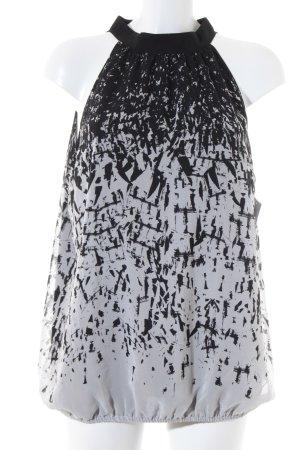 Esprit ärmellose Bluse schwarz-wollweiß abstraktes Muster Elegant