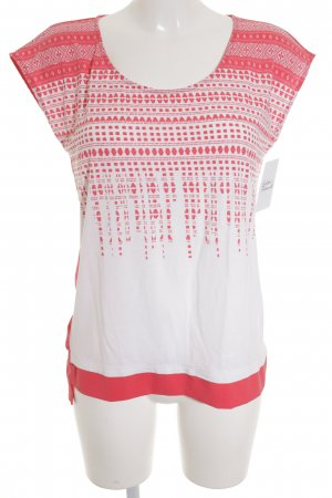 Esprit ärmellose Bluse weiß-hellrot abstraktes Muster Business-Look