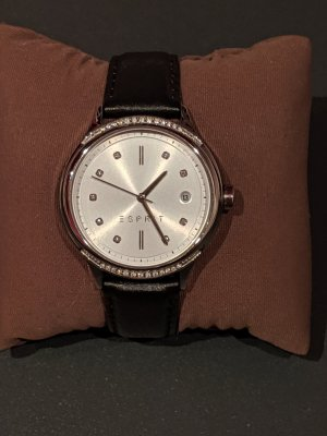 Esprit Watch With Leather Strap silver-colored-dark brown