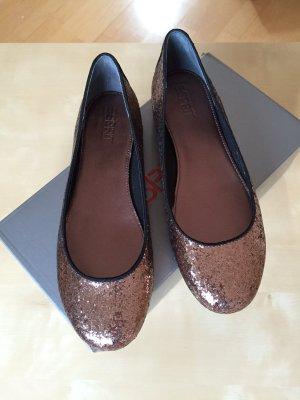 ESPRIT Ballerina Schuhe, Glitzer (Bronze) Gr. 38 - komplett NEU