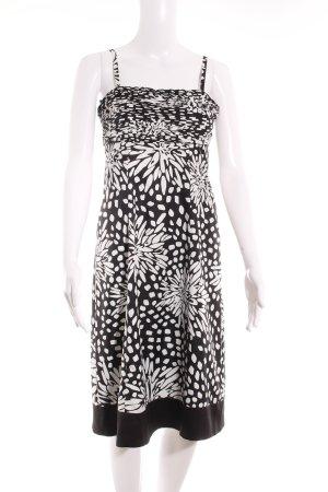 Esprit Bandeaukleid schwarz-weiß florales Muster Stofflagen-Detail