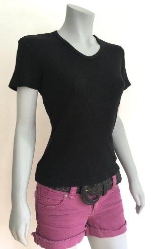ESPRIT Basic-Shirt T-Shirt Rippshirt V-Ausschnitt schwarz Gr. M