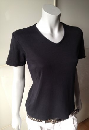 ESPRIT Basic T-Shirt, V-Ausschnitt in schwarz, Gr. M