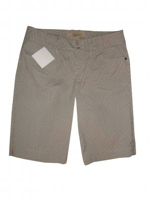 Esprit Bermuda Hose Baumwolle Mix kariert weiß grau taupe beige Gr. 38 M neu
