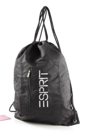 Esprit Beuteltasche schwarz-weiß Schriftzug gedruckt sportlicher Stil