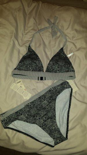 ESPRIT Bikini-Set Neckholder Gr.40 (80B) & Slip Gr. 42 Schwarz-Weiß San Diego Kollektion *neu*