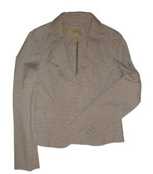 Esprit Blazer Jacke Jackett kariert weiß grau taupe beige Gr. 38 M neu