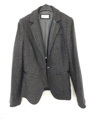 Esprit Blazer kurz, grau schwarz, teils Wolle/Seide, Gr.34