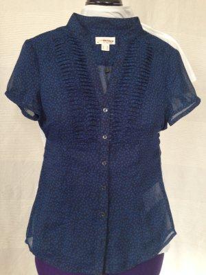 Esprit Bluse blau Transparent mit Rüschen