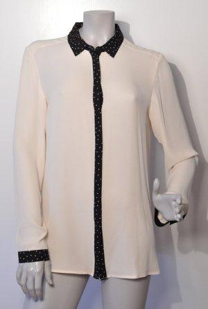 Esprit Bluse creme Details schwarz gepunktet Polyester Gr. 40 UNGETRAGEN