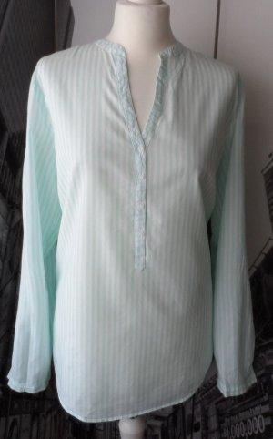 ESPRIT Bluse Gr. 40 Weiß Mint gestreift  wenig getragen