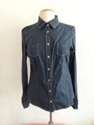 ESPRIT Bluse - Langarm Bluse, klassische Bluse,grau schwarz, Gr.38