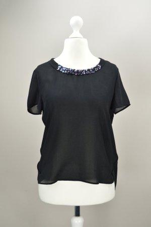 Esprit Bluse mit Pailletten schwarz Größe 36