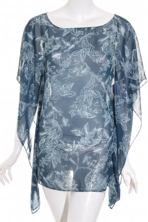 Esprit Bluse petrol-graugrün florales Muster schlichter Stil
