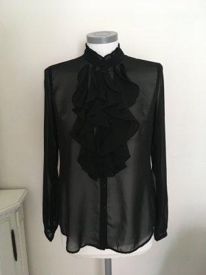 Esprit Blouse à volants noir tissu mixte