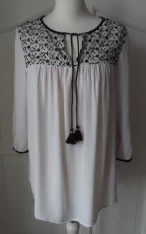 ESPRIT Bluse / Tunika Gr. 40 Offwhite Schwarz wenig getragen
