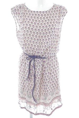 Esprit Blusenkleid creme-graulila Blumenmuster Boho-Look