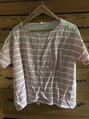 Esprit Gestreept shirt wolwit-lichtrood Viscose