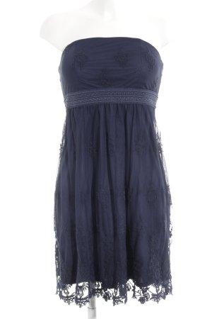 Esprit Vestido bustier azul oscuro Apariencia de encaje