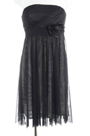 Esprit Vestido bustier negro-crema elegante