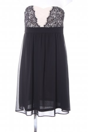Esprit Vestido bustier negro-crema estilo fiesta
