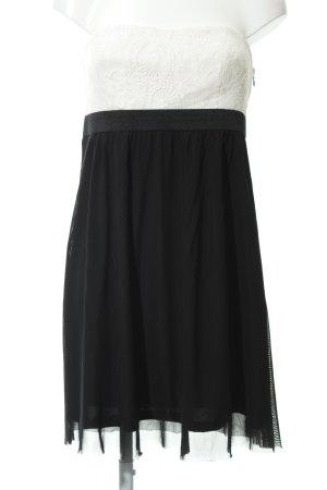Esprit Vestido bustier negro-blanco puro elegante