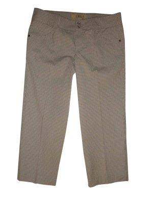 Esprit Capri Hose Baumwoll Mix kariert weiß grau taupe beige Gr. 38 M neu