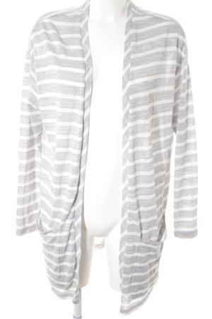 Esprit Cardigan hellgrau-weiß Streifenmuster Casual-Look