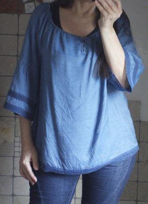 ESPRIT Carmenbluse, Jeansstoff, leichter Stoff mit Spitze, Trompetenärmel, A-Linie, blau