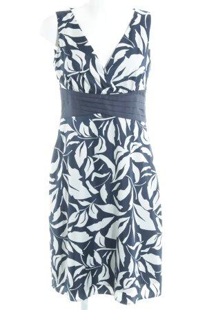 esprit collection Etuikleid dunkelblau-weiß florales Muster klassischer Stil