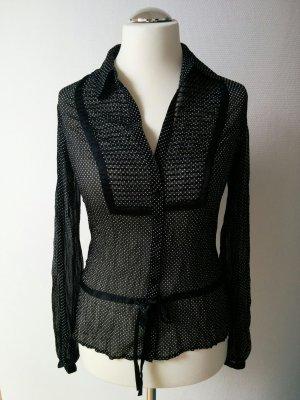 Esprit Collection halbtransparente Bluse Schwarz Weiß gepunktet mit Satin Rockabilly Gr. 36