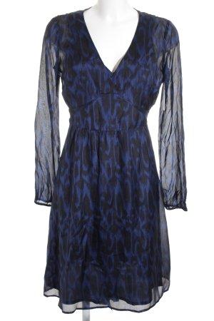 esprit collection Langarmkleid blau-schwarz abstraktes Muster Elegant