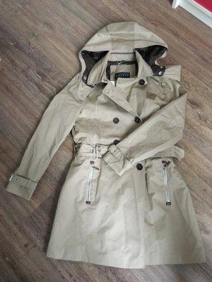 Esprit Collection Mantel Trenchcoat 36 S beige braun Steppmuster neu Etikett Leder Kapuze