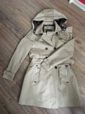 Esprit Collection Mantel Trenchcoat 36 S beige braun Steppmuster neu Etikett Leder Kapuze
