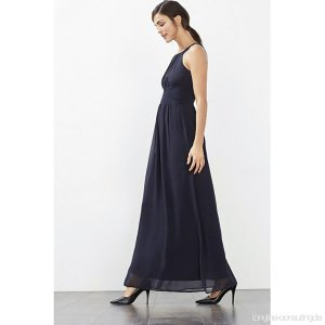 ESPRIT COLLECTION Maxi Kleid mit plissierter Taille Nachtblau Gr. 38 wie neu!