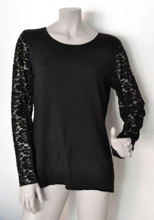 Esprit Collection Pullover mit Ärmeln aus Spitze schwarz Gr. L 116EO1I007 FAST WIE NEU