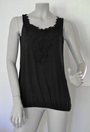 Esprit Collection Top Shirt mit Häkel Spitze Viskose schwarz Gr. L – sehr guter Zustand