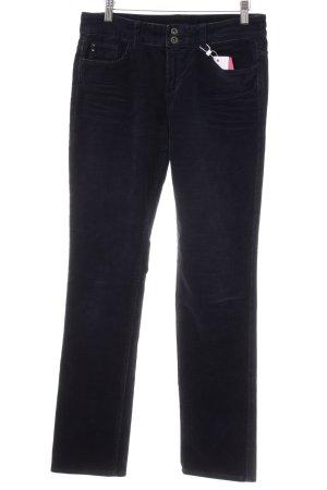 Esprit Pantalone di velluto a coste blu scuro stile casual