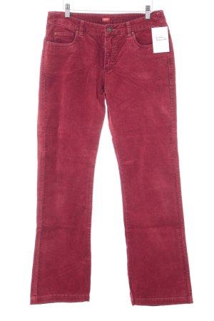 Esprit Pantalone di velluto a coste rosso scuro stile casual