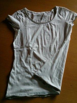 ESPRIT Crop T-Shirt Weiß mit beigen Details am Bund