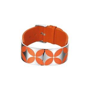 Esprit Damen Armband Leder Edelstahl Orange NEU