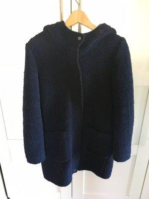 Esprit Damen Mantel blau casual mit Kapuze Bouclé-Mantel