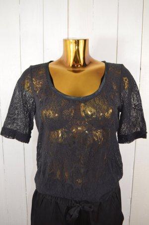 Esprit Damen Oberteil T-Shirt Spitze Schwarz Rundhals Kurzarm Reißverschluss M