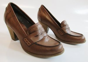 Esprit Damen Schuhe Pumps 37 Cognac Braun Loafer Slipper College Budapester Holz