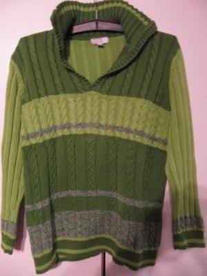 Esprit - Damenstrickpullover -  grün - offener Kragen/Ausschnitt