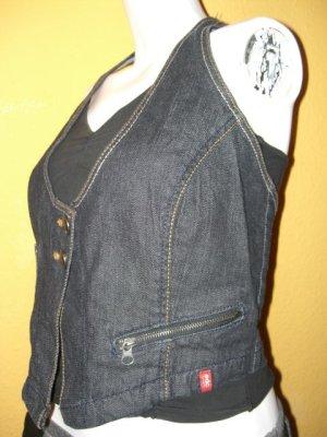 Esprit Gilet en jean bleu foncé coton