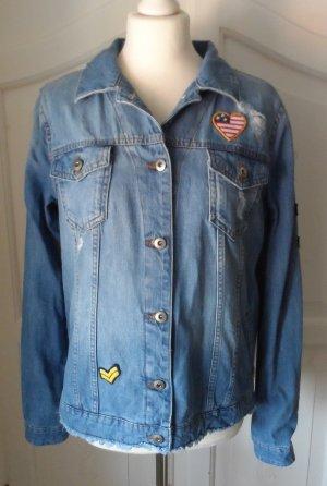 ESPRIT Distressed Jeans-Jacke Patches Gr. XL NEU oh Etikett aktuelle Kollektion