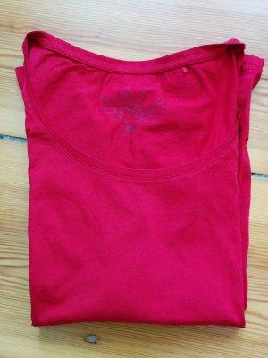 Esprit edc Basic Langarmshirt Baumwolle Rot Rundhals Gr. 36 / S