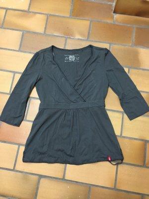 Esprit edc Shirt grau Anthrazit 3/4-ärmlig Engel Bindegürtel Gürtel XS 34
