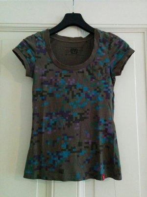 Esprit edc T-Shirt Khaki mit Würfelmuster Tetris Gr. S
